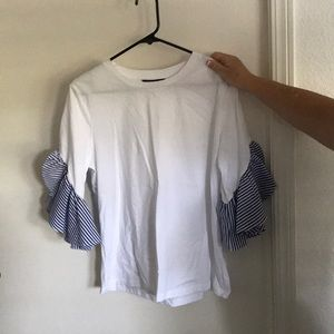 Cute White and Navy Blue Blouse